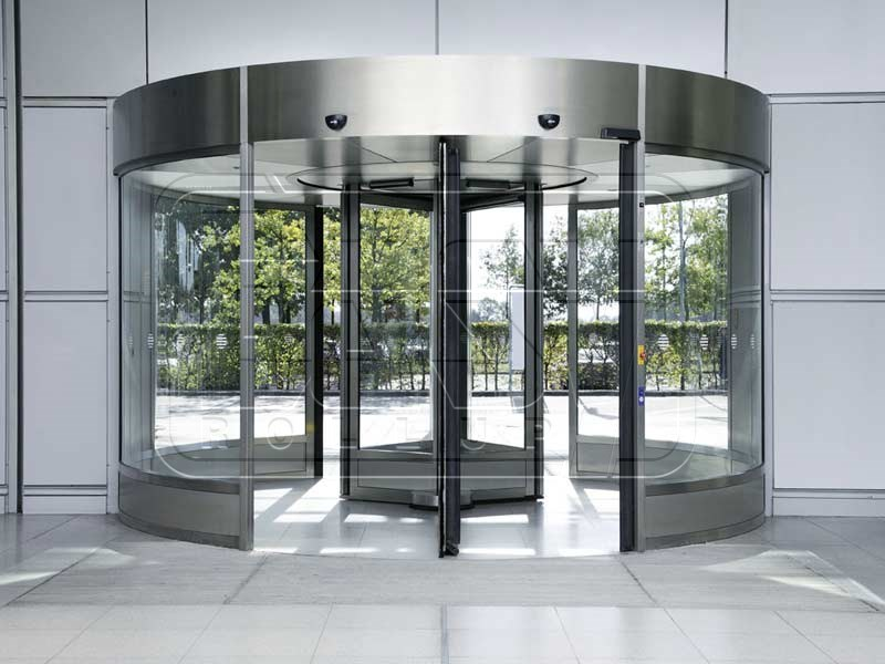 Automatic curved glass door